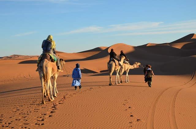 Désert marocain, méharée à l'erg Chegaga
